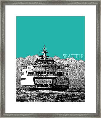 Seattle Skyline Ferry - Teal Framed Print by DB Artist