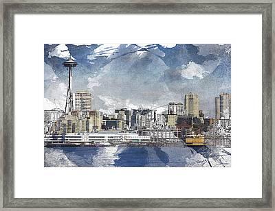 Seattle Skyline Freeform Framed Print