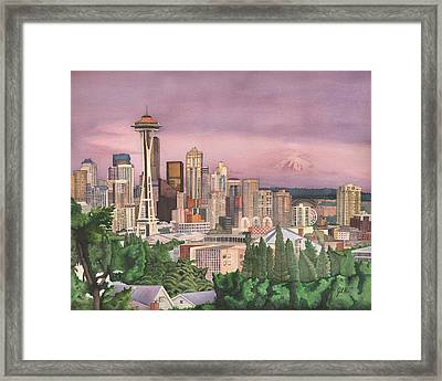 Seattle Skyline Framed Print by Josh Marks