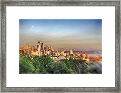 Seattle Skyline Lens Baby Hdr Framed Print by Scott Campbell