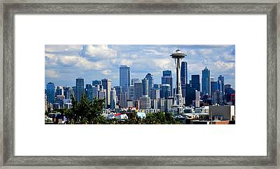 Seattle Skyline Panorama Framed Print by Ricardo J Ruiz de Porras