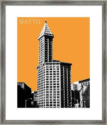 Seattle Skyline Smith Tower - Orange Framed Print by DB Artist