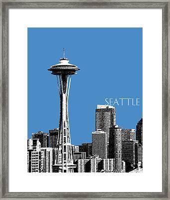 Seattle Skyline Space Needle - Slate Blue Framed Print