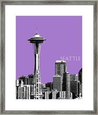 Seattle Skyline Space Needle - Violet Framed Print by DB Artist