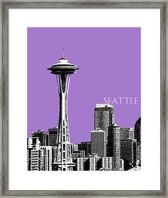 Seattle Skyline Space Needle - Violet Framed Print