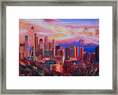 Seattle Skyline With Space Needle And Mt Rainier Framed Print by M Bleichner
