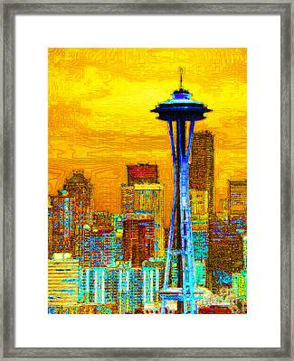 Seattle Space Needle 20130115v2 Framed Print by Wingsdomain Art and Photography