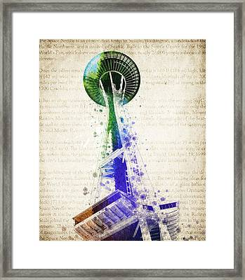 Seattle Space Needle Framed Print by Aged Pixel