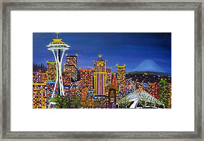 Seattle Space Needle At Dusk Framed Print by Portland Art Creations