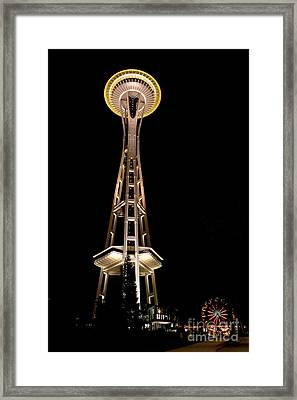 Seattle Space Needle At Night Framed Print
