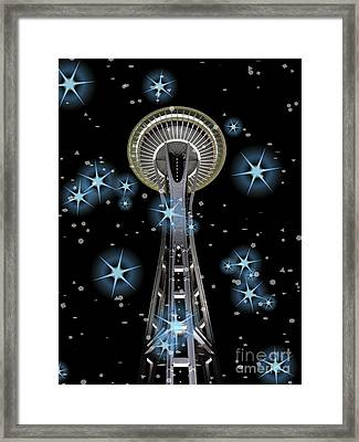Framed Print featuring the digital art Seattle Space Needle Blue Stars by Chalet Roome-Rigdon