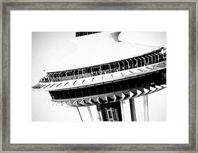 Framed Print featuring the photograph Seattle Space Needle Close Up by Amy Giacomelli