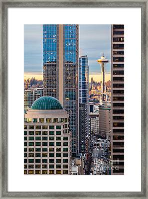 Seattle Space Needle Golden Sunset Light Framed Print by Mike Reid