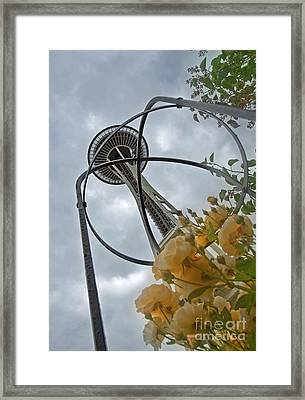 Seattle Spaceneedle With Watercolor Effect Yellow Roses Framed Print by Valerie Garner