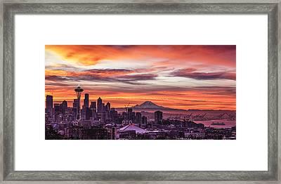 Seattle Sunrise Framed Print