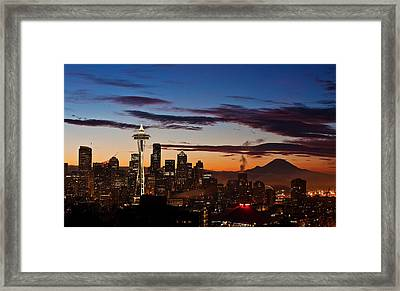 Seattle Sunrise Framed Print by Mike Reid