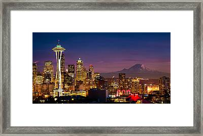 Seattle Sunset Framed Print by Alexis Birkill