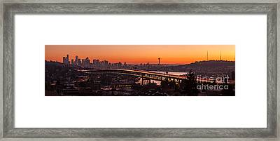 Seattle Sunset Panorama Framed Print by Mike Reid