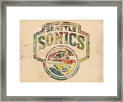 Seattle Supersonics Poster Art Framed Print