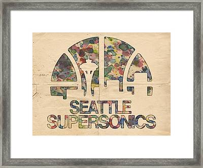 Seattle Supersonics Poster Vintage Framed Print