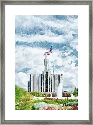 Framed Print featuring the painting Seattle Temple 1 by Greg Collins