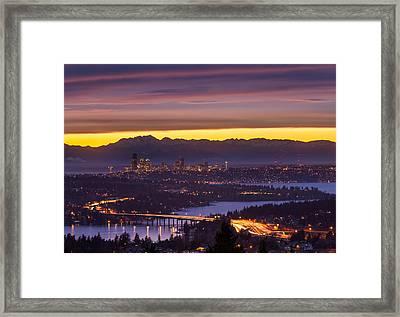 Seattle Twilight Framed Print