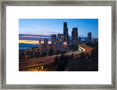 Seattle Twilights Framed Print by Ryan Manuel