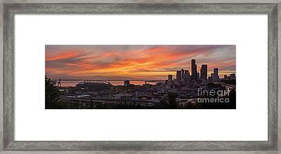 Seattle Under Fiery Skies Framed Print by Mike Reid