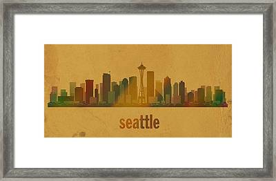 Seattle Washington City Skyline Watercolor On Parchment Framed Print