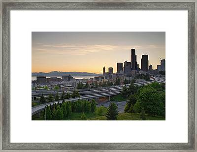 Framed Print featuring the photograph Seattle Washington Downtown City Sunset by JPLDesigns