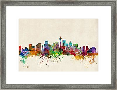 Seattle Washington Skyline Framed Print by Michael Tompsett