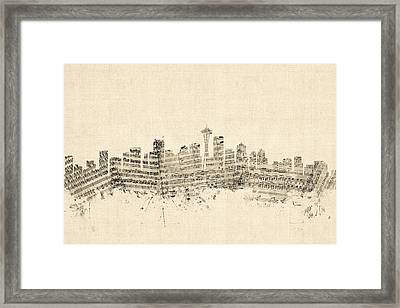 Seattle Washington Skyline Sheet Music Cityscape Framed Print