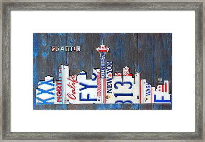 Seattle Washington Space Needle Skyline License Plate Art By Design Turnpike Framed Print by Design Turnpike
