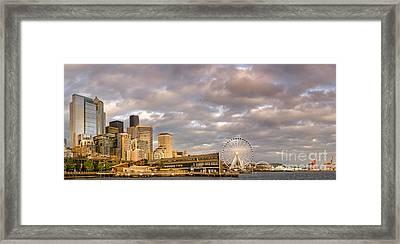 Seattle Waterfront Bathed In Golden Hour - Seattle Skyline - Puget Sound Washington State Framed Print