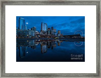 Seattle Waterfront Reflection Framed Print