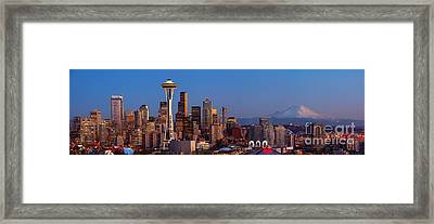 Seattle Winter Evening Panorama Framed Print by Inge Johnsson