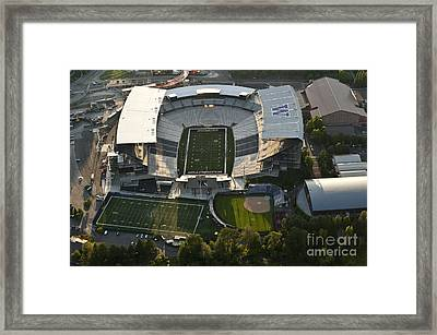 Seattle With Aerial View Of The Newly Renovated Husky Stadium Framed Print