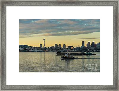Seattles Working Harbor Framed Print