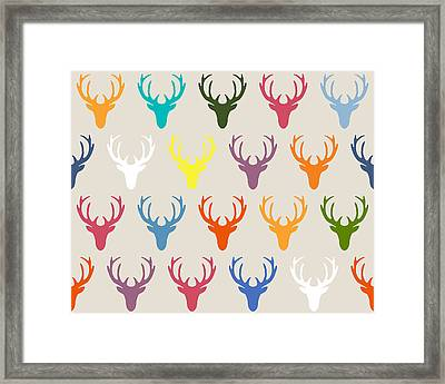 Seaview Simple Deer Heads Framed Print