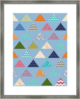 Seaview Triangles Blue Framed Print by Sharon Turner