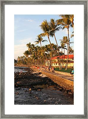 Seawall At Sunset Framed Print