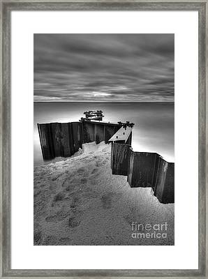 Seawall In Black And White Framed Print