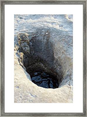 Seawater Inside Fossil Formed Blowhole Framed Print by David Parker