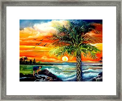 Seawaves Sunset In Tampa Framed Print