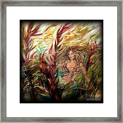 Seaweed Mermaid Pillow Framed Print