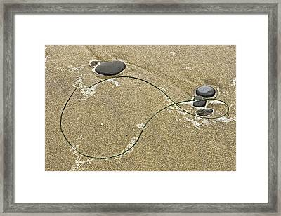 Seaweed Sand And Stones Framed Print