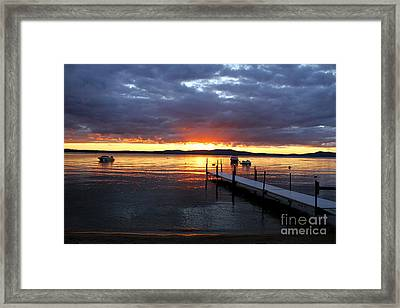 Sebago Lake Sunset Framed Print by Butch Lombardi