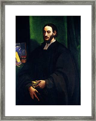Sebastiano Del Piombo, Portrait Of A Humanist Framed Print by Litz Collection