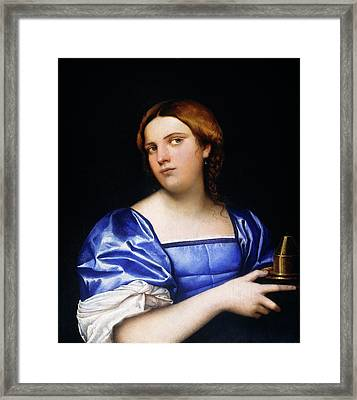Sebastiano Del Piombo, Portrait Of A Young Woman As A Wise Framed Print by Litz Collection