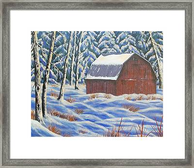 Framed Print featuring the painting Secluded Barn by Susan DeLain